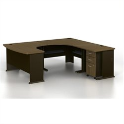 Bush BBF Series A U-Shaped Right Computer Desk in Sienna Walnut