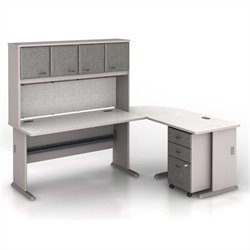 Bush BBF Series A 5-Piece L-Shape Computer Desk in Pewter