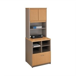 Bush Business Series A Storage Cabinet with Hutch in Light Oak