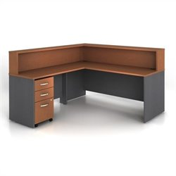 Bush BBF Series C 4-Piece L-Shape Reception Computer Desk in Auburn Maple