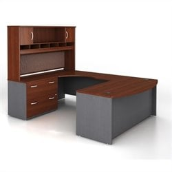 Bush BBF Series C 4-Piece U-Shape Left-Hand Computer Desk in Hansen Cherry