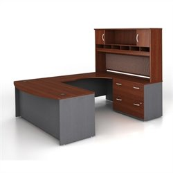 Bush BBF Series C 4-Piece U-Shape RH Computer Desk in Hansen Cherry