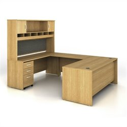 Bush BBF Series C 5-Piece U-Shape Computer Desk in Light Oak