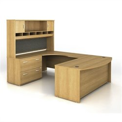 Bush BBF Series C 4-Piece U-Shape Left-Hand Computer Desk in Light Oak