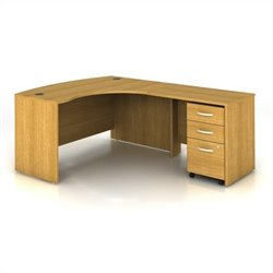 Bush BBF Series C 3-Piece Right-Hand Computer Bow Desk in Light Oak