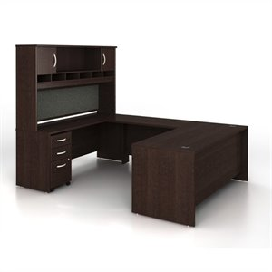 Bush Business Series C 5-Piece U-Shape Computer Desk in Mocha Cherry