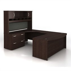Bush BBF Series C 4-Piece U-Shape Left-Hand Computer Desk in Mocha Cherry