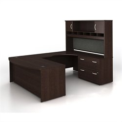 Bush BBF Series C 4-Piece U-Shape Right-Hand Computer Desk in Mocha Cherry