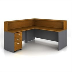 Bush BBF Series C 4-Pc. L-Shape Reception Computer Desk in Natural Cherry