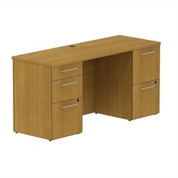 Bush BBF 300 Series 60W x 22D Double Pedestal Desk in Modern Cherry