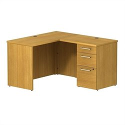 Bush BBF 300 Series 48W x 22D Shell Desk in L-Station with 3Dwr Pedestal in Modern Cherry