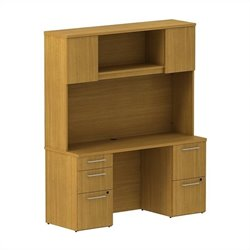 Bush BBF 300 Series 66W x 22D Double Pedestal Desk and 66W Hutch with Doors in Modern Cherry