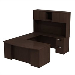 Bush BBF 300 Series 72W x 36D Bow Front U-Station Desk w 72H Hutch in Mocha Cherry