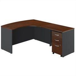 Bush BBF Series C 3-Piece Right-Hand Bow Front Desk Set in Hansen Cherry