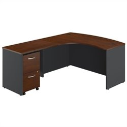 Bush BBF Series C 3-Piece Left-Hand Bow Front Desk Set in Hansen Cherry