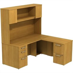 Bush BBF 300 Series 66W x 30D Single Pedestal L Desk with Return and Hutch in Modern Cherry