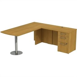 Bush BBF 300 Series 72W x 30D Peninsula Desk L-Station with 3Dwr Pedestal in Modern Cherry