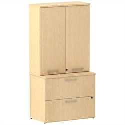Bush BBF 300 Series 36W 2Dwr Lateral File with 36W Tall Wardrobe Storage in Natural Maple