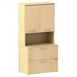 Bush BBF 300 Series 36W 2Dwr Lateral File with 36W Hutch Storage w Doors in Natural Maple