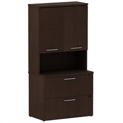 Bush BBF 300 Series 2 Drawer Lateral File with Hutch in Mocha Cherry