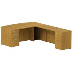 Bush BBF 300 Series 72Wx36D BowFront L-Desk w 2Dwr and 3Dwr Pedestals in Modern Cherry