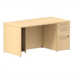 Bush BBF 300 Series 60W x 30D Single Pedestal Desk Kit in Natural Maple