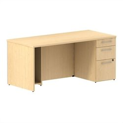 Bush BBF 300 Series 66W x 30D Single Pedestal Desk Kit in Natural Maple