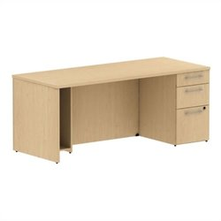 Bush BBF 300 Series 72W x 30D Single Pedestal Desk Kit in Natural Maple