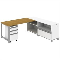 Bush BBF Momentum 60W X 30D Desk with 30H Storage and 3Dwr Mobile Ped in Modern Cherry