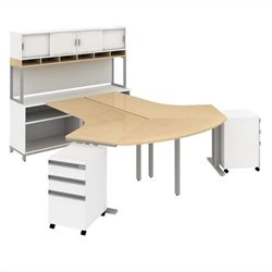 Bush BBF Momentum  2 Person Workstation with Hutch in Natural Maple