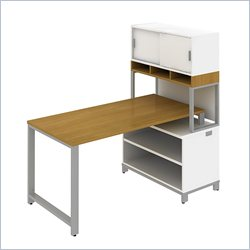 Bush BBF Momentum 60W X 30D Floating Desk with Open Storage and Hutch in Modern Cherry