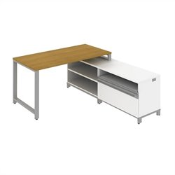 Bush BBF Momentum 60W X 30D Floating Desk with 24H Storage in Modern Cherry