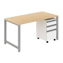 Bush BBF Momentum 60W x 30D Desk with 3Dwr Mobile Pedestal in Natural Maple