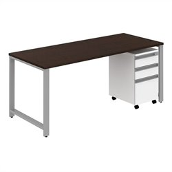 Bush BBF Momentum 72W x 30D Desk with 3Dwr Mobile Pedestal in Mocha Cherry