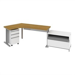 Bush BBF Momentum  Left Desk with Storage in Modern Cherry