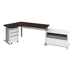 Bush BBF Momentum  Left Desk with Storage in Mocha Cherry