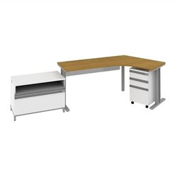Bush BBF Momentum  Right Desk with Storage in Modern Cherry