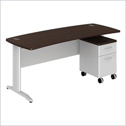 Bush BBF Sector 72W X 30D Curved Desk with 2Dwr Mobile Pedestal in Mocha Cherry