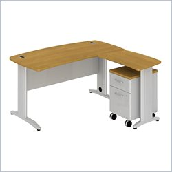 Bush BBF Sector 60W X 30D Curved L-Desk with 2Dwr Mobile Pedestal in Modern Cherry