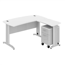 Bush BBF Sector 60W X 30D Curved L-Desk with 2Dwr Mobile Pedestal in White