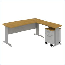 Bush BBF Sector 72W X 30D Curved L-Desk with 2Dwr Mobile Pedestal in Modern Cherry