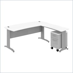 Bush BBF Sector 72W X 30D Curved L-Desk with 2Dwr Mobile Pedestal in White