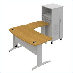 Bush BBF Sector 60W X 30D Curved L-Desk with RH Storage Locker in Modern Cherry