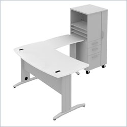 Bush BBF Sector 60W X 30D Curved L-Desk with RH Storage Locker in White