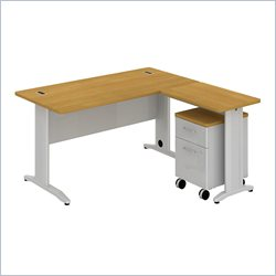 Bush BBF Sector 60W X 30D L-Desk with 2Dwr Mobile Pedestal in Modern Cherry