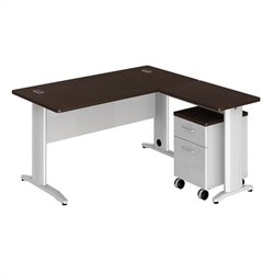Bush BBF Sector 60W X 30D L-Desk with 2Dwr Mobile Pedestal in Mocha Cherry