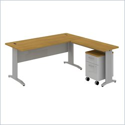 Bush BBF Sector 72W X 30D Rectangular L-Desk with Mobile Pedestal in Modern Cherry