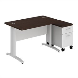 Bush BBF Sector 48W X 30D Rectangular Desk with 2Dwr Mobile Pedestal in Mocha Cherry