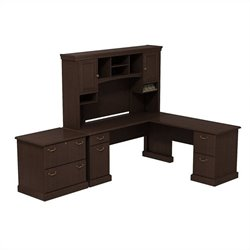 Bush BBF Syndicate 72W X 72D L-Desk with Hutch and Lateral File in Mocha Cherry