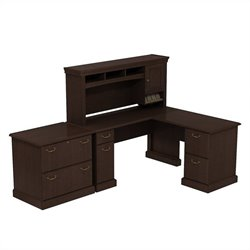 Bush BBF Syndicate 60W X 60D L-Desk with Hutch and Lateral File in Mocha Cherry